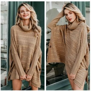 Eve Cowl Neck Poncho Sweater Top